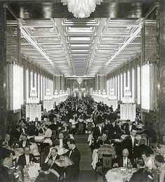 Another great view of Normandie's first class dining room. 700 people ate at 157 tables.
