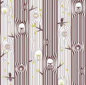 Autumn Owl Tree Stripe by ttoz