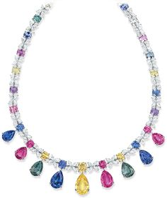 Cellini Jewelers Multi-color Sapphire and Diamond Necklace Pear-shaped natural… Sapphire Necklace, Sapphire Jewelry, Gemstone Necklace, Beaded Necklace, Pendant Necklace, Sapphire Diamond, Diamond Necklaces, Women's Necklaces, Drop Necklace