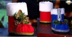 Dica de artesanato de natal, passo a passo bota de natal com garrafa PET. Um enfeite de natal com material reciclado super fácil de fazer. Para presentear.