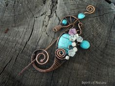 Copper seahorse brooch Wire wrapped Seahorse pin copper wire scarf pin Wire Sea horse brooch Copper Seahorse jewelry Wire sea horse jewelry - $39.95 USD