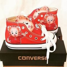 Daniel the tiger custom shoes 2nd Birthday Party Themes, Wild One Birthday Party, 1st Birthday Girls, Boy Birthday Parties, Birthday Ideas, Third Birthday, Daniel Tiger Birthday Cake, Daniel Tiger Cake, Daniel Tiger Party