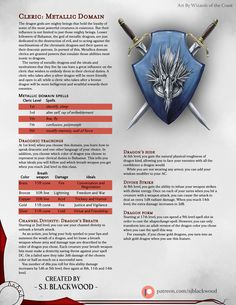 Homebrewing design Cleric: Metallic Domain - A cleric subclass that emulates the power and ideals of the metallic dragons. Dungeons And Dragons Classes, Dungeons And Dragons Homebrew, Cleric Domains, Dnd Cleric, Dnd Stats, Dnd Races, Dnd Classes, Dnd 5e Homebrew, Forgotten Realms
