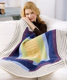 Dreamy Quilt Throw, free pattern by Katherine Eng for Red Heart Yarns.  Nice combination of textured stitches.  . . .  ღTrish W ~ http://www.pinterest.com/trishw/  . . . #crochet #afghan #blanket
