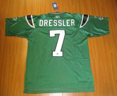 WESTON DRESSLER Saskatchewan Roughriders SIGNED CFL Football Jersey . $398.05. This is an official licensed SIGNED Weston Dressler Saskatchewan Roughriders jersey. The jersey is brand new with all of the lettering and numbering professionally sewn on. The player has beautifully signed the number. To protect your investment, a Certificate Of Authenticity and tamper evident hologram from A.J. Sports World is included with your purchase. Saskatchewan Roughriders, Football Jerseys, Hologram, Authenticity, Certificate, Outdoors, Number, Lettering, Colour