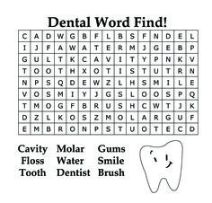 #Dental #word find for #kids in honor of February Dental Health Month!