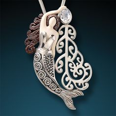 Ancient Mammoth Ivory and Moonstone Silver Mermaid Pendant - Koru Mermaid
