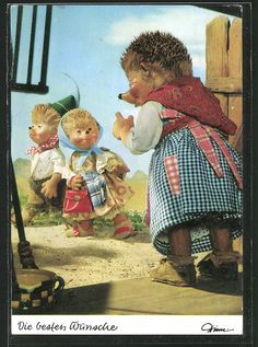 old postcard: AK Meckis Frau ermahnt ihre Kinder