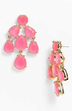 Kate Spade Faceted Chandelier Statement Earrings in Pink (fluorescent pink)