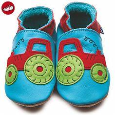 Inch Blue Mädchen/Jungen Schuhe für den Kinderwagen aus luxuriösem Leder - Weiche Sohle - Traktor Türkis - Kinder sneaker und lauflernschuhe (*Partner-Link)