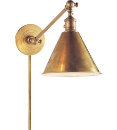 Visual Comfort E.F. Chapman Boston 1 Light Task Wall Light in Hand-Rubbed Antique Brass SL2922HAB #visualcomfort #lightingnewyork #lighting