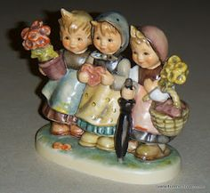 """Hummel """"Trio Of Wishes"""" Goebel Figurines, Precious Moments Figurines, Royal Doulton, Drawing For Kids, Shelf, Scrap, Old Things, Merry, Collections"""