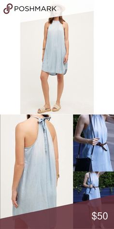 NEW Anthropologie Chambray Halter Dress New with tags, excellent condition.  Super cute!! Lightweight, soft material (lyocell).  By: Cloth & Stone.  Relaxed tunic silhouette.  Adjustable halter tie.  Machine wash. Anthropologie Dresses