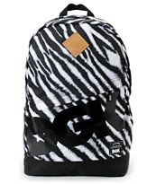 Take on a new level of freshness with the DGK Zebra Print Angle backpack in  black and white. This basic style bookbag has an Animal Print all over a8e7adb5450