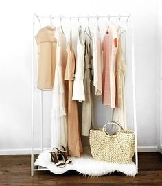 closet, rack, blush, white, fashion