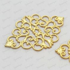 4 Antiqued Gold Plated Metal Filigree Base Connector by yooounique on Etsy