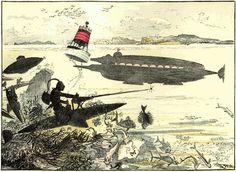 """Albert Robida, « Grandes manœuvres sous-marines. – Monitor sous-marin surpris par les torpédistes », in : """"Le vingtième siècle : la vie électrique"""", Paris, La Librairie Illustrée, 1892"""