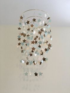 shimmery star mobile, dorm room decor, nursery gift, crib mobile, teen room decor, outer space theme, galaxy, twinkle twinkle, baby gift