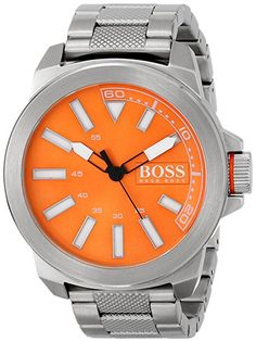 Men's Wrist Watches - BOSS Orange Mens 1513007 New York Analog Display Quartz Silver Watch * Check this awesome product by going to the link at the image. Hugo Boss Orange, Cool Watches, Wrist Watches, Women Brands, Casio Watch, Stainless Steel Case, Quartz, Band, Silver