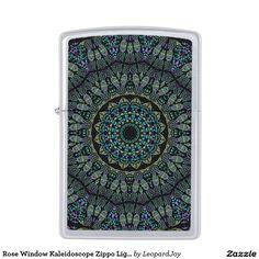 Rose Window Kaleidoscope Zippo Lighter, by Joy McKenzie