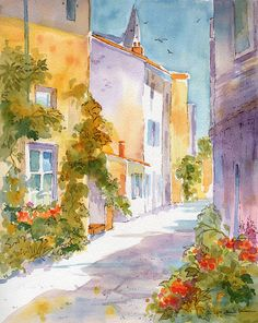 Quaint French Sunlit Street Original Watercolor Painting