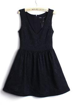 Black Zipper Pleated V Neck Sleeveless Cotton Dress!