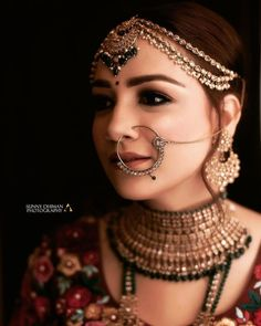 Perfect finishing to a bridal look is given by stunning nose rings! Book the best makeup artist now with BookEventZ to get the perfect bridal look on THE DAY! Pakistani Bridal Makeup, Indian Wedding Makeup, Indian Wedding Bride, Best Bridal Makeup, Indian Bridal Outfits, Bridal Makeup Looks, Indian Bridal Fashion, Bridal Lehenga, Wedding Outfits