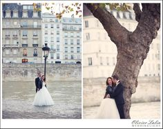 Wedding couple portrait session photos taken at the tip of isle Saint Louis in Paris France