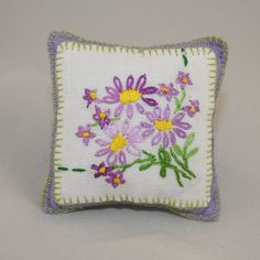 Vintage Linen Embroidered Pincushion  by Lynwoodcrafts on Etsy, £8.00