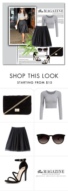 """""""Midi Skirt"""" by nermina-okanovic ❤ liked on Polyvore featuring Forever 21, Bebe, Ray-Ban and Mollini"""