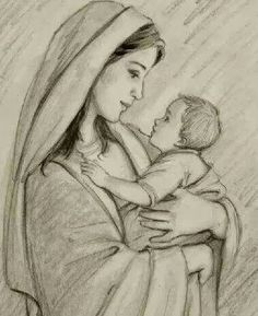 Mère Marie in mary and jesus drawing collection - ClipartXtras Girl Drawing Sketches, Art Drawings Sketches Simple, Girly Drawings, Pencil Art Drawings, Mother And Child Drawing, Mother Art, Catholic Art, Religious Art, Jesus Sketch