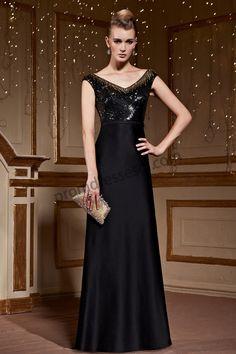 Black Backless Sequined Satin Formal Evening Dress BE253