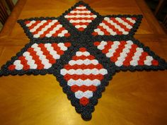 Patriotic Americana Quilted yo yos table top Handmade hand stitched yoyo's #handmadebytheseller
