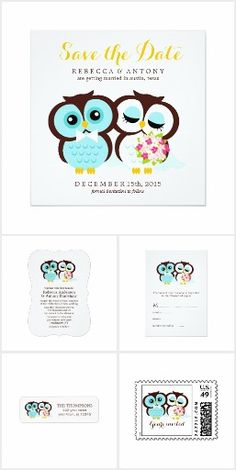 Sweet Whimsical Owls Wedding invitation and matching stationery and gift collection features soft pastel colors and two cute owls who are in love.  Visit to see everything.