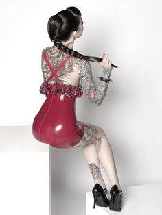 Beautiful braid, latex and tattoos.