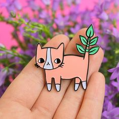 Plant Kitty Soft Enamel Pin by ponyponypeoplepeople on Etsy