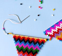 Fuse bead bunting craft - perfect for kid's part or to decorate room