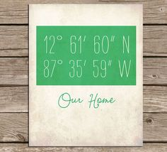 I'd love the coordinates of my university instead with the school slogan underneath. Print it in emerald green and frame it in gold for extra school spirit. Latitude Longitude Customizable Art Print on Etsy, $16.00