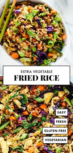 Learn how to make vegetable fried rice—it's a DELICIOUS and satisfying dinner recipe! This vegetable fried rice recipe is made with double the vegetables, for extra flavor and nutrition. #cookieandkate #vegetarian #glutenfree #healthyrecipe #veggiefriedrice