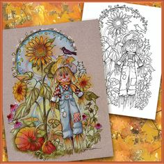 Autumn Fall Coloring Book Page  Boho Scarecrow Pumpkins