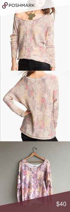 Free People Flower Bomb Sweater in Pink No trades! Excellent condition. Pullover sweater with pink purple and yellow faded floral print. Perfect for any season! Size small. Free People Sweaters Crew & Scoop Necks