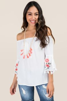 94fde13c5da76 Paola Floral Embroidered Bell Sleeve Top