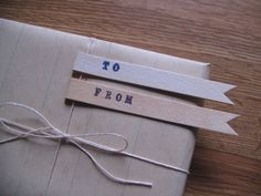 To and From Gift Tags (20 of each). $50.00, via Etsy.