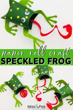 Help your child make a family of frogs with curly long tongues. All you need is a few paper rolls and some simple craft supplies for this DIY craft project. A quick and fun kids craft. Toddler Fun, Toddler Crafts, Preschool Crafts, Toilet Paper Roll Crafts, Cardboard Crafts, Frogs For Kids, Frog Crafts, Summer Crafts For Kids, Arts And Crafts Projects