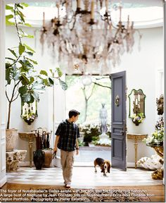 Love everything about this entry! Especially the brownish/blue and cream limestone tile floors.