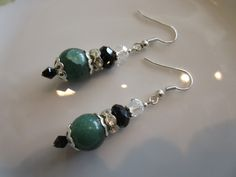 Handmade For You Green Jade, Jet Black Clear Swarovski Crystal and Rhinestone Beaded Earrings Silver Plated French Hook Earring Hooks E154 by JewelsHandmadeForYou on Etsy