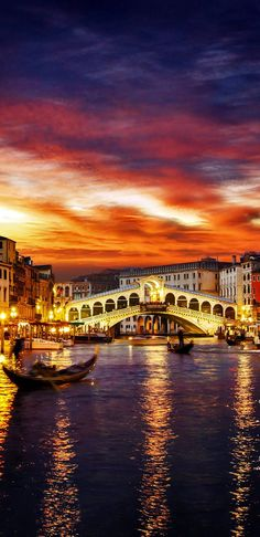 Ponte Rialto and gondola at sunset in Venice, Italy. Love Venice but haven't been back in so many years. !!!