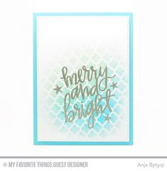 Handmade card from Anja Bytyqi featuring Hand-Lettered Christmas and Oh Christmas Tress stamp sets, Blueprints 29 Die-namics, and Moroccan Lattice stencil #mftstamps