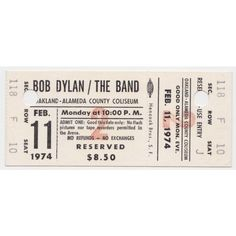 Bob Dylan The Band Unused 1974 Oakland Concert Ticket Recordmecca ❤ liked on Polyvore featuring fillers, tickets, music, other, accessories, backgrounds, detail and embellishment
