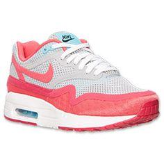 Women's Nike Air Max 1 Barefoot Running Shoes| FinishLine.com | Wolf Grey/Geranium/Polarized Blue